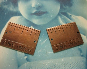 Copper Ox Plated Brass One Inch Ruler Charms 503COP x2