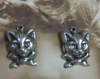 Silver Ox Plated Cat with Bow Charms 827SOX x2