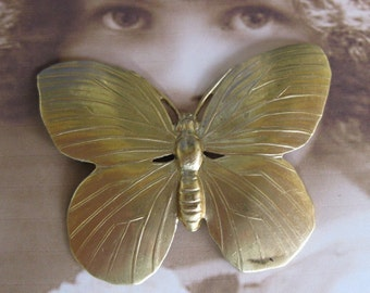Natural Raw Brass Butterfly Stamping 329RAW x1