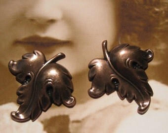 Copper Ox Plated Brass Leaf Stampings 47COP x2