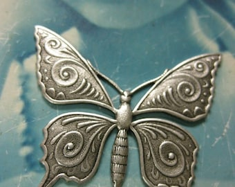 Silver Ox Plated  Monarch Butterfly Stampings 330SOX x2