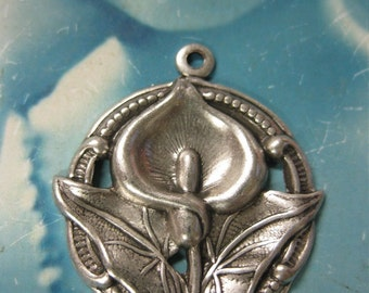 Sterling Silver Ox Plated Calla Lily Pendants 283SOX x2