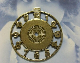 Brass Ox Plated Large Metal Watch Face 715BOX x1