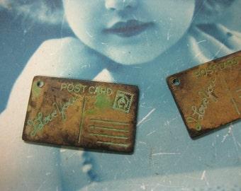 Verdigris Patina I Love You Postcard Brass Charms 582VER  x2
