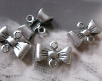 Tiny Silver Ox Plated Bow Connectors 343SOX x6