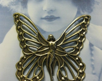 Brass Ox Plated Fairy Goddess Butterfly Stamping Pendant 717BOX x1