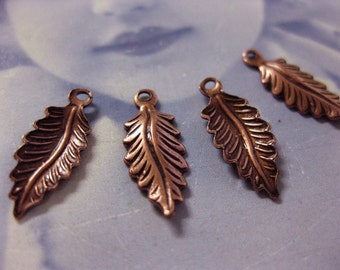 Copper Ox Plated Small Leaf Charms  775COP x4