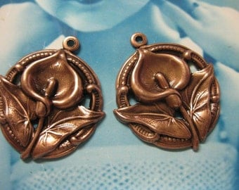 Copper Ox Plated Calla Lily Pendants 283COP x2