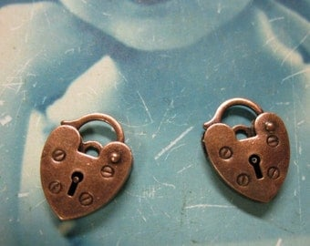 Copper Ox Plated Padlock Hearts Clasps 424COP x2
