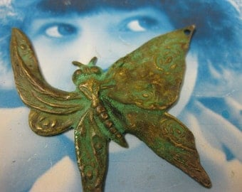 Verdigris Patina Floral Butterfly Brass Stamping Charms   724VER x2