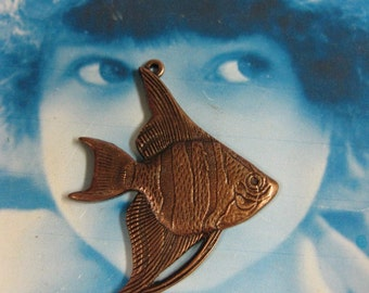 Copper Ox Plated Angel Fish Stampings Charms Pendants 121COP x2