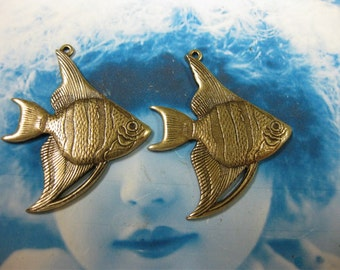Brass Ox Plated Angel Fish Stampings Charms Pendants 121BOX x2