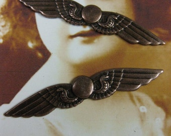 Copper Ox Plated Double Wings With Snakes 371COP x2