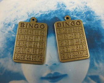 Brass Ox plated Bingo Card Charms 583BOX x2