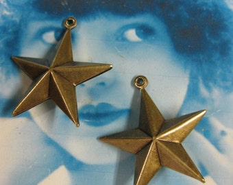 Brass Ox Plated Star Charms  132BOX x2