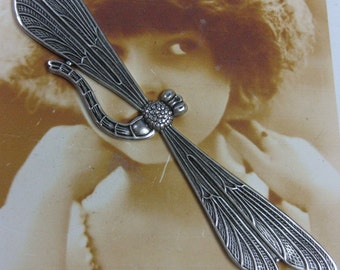 Sterling Silver Ox Plated Dragonfly Brass Stamping Can be Bent 652SOX x1