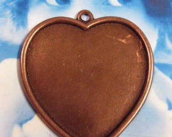 Large Copper Ox Plated  Heart Bezels Jewelry Supplies 195COP x1