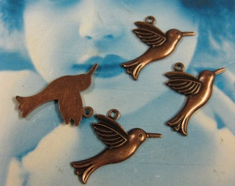 Copper Ox Plated Sweet Little Hummingbird Charms  306COP x4
