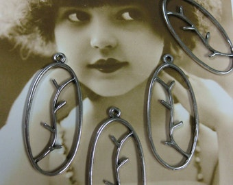 Silvertone Leaves on a Branch  Charms 864SIL x4