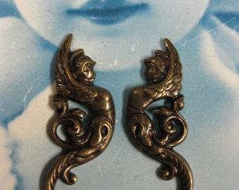 Brass Ox Plated Art Deco Style Angel Stampings 358BOX x4