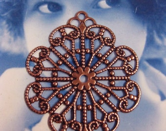 Copper Ox Plated Large Round Floral Filigree Connectors 872COP x2