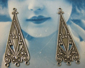 Silver Ox  Plated Ornate Earring Drops  464SOX x2