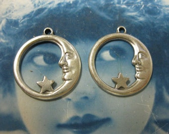 Silver Ox Plated Moon and Star Pendant Charms 682SOX X2