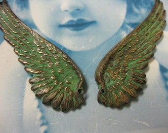 Verdigris Patina Large Wing Stampings with or without holes 927VER x2