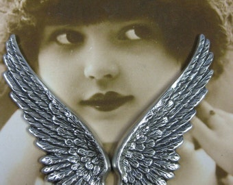 Sterling Silver Ox Plated Large Wing Stampings  927SOX x2