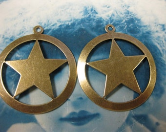 Brass Ox Plated Large  Brass Star Stamping Charms 680BOX x2