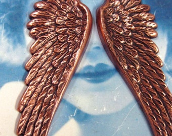 Copper Ox Plated Large Wing Stampings  927COP x2