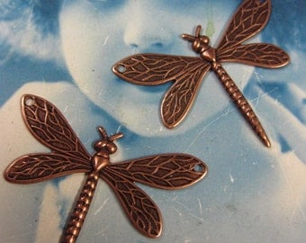 Copper Ox Plated Dragonfly Charms 2 Holes 324COP x2