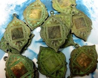 Arabian Style Brass Medallions Verdigris Patina 35VER x2