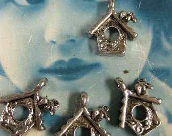 Clearance Closeout  Silver Tibet Cast Bird House Charms  859SIL x4