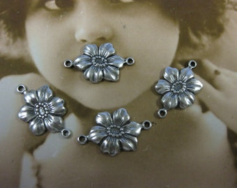 Sterling Silver Ox Plated Pansy Jewelry Connectors 260SOX x4