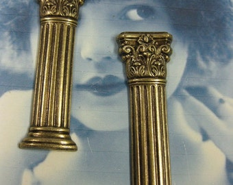 Brass Ox Plated Stunning  Neo Classical Columns  stampings 713BOX x2
