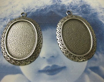 Silver Ox Plated Large Oval Brass Bezel Settings 193SOX x2