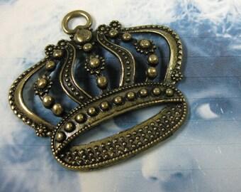 Antique Bronze Large Ornate Crown Pendants 992BRZ x2