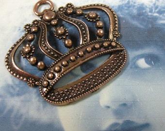 Antique Copper Large Ornate Crown Pendants 992COP x2