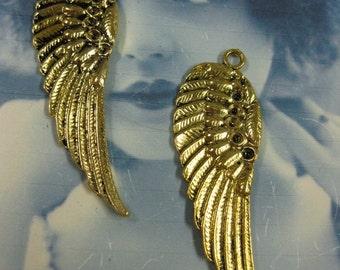 Antique Brass Patina Wing Pendants 987GOL x2
