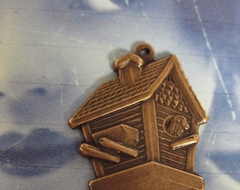 Copper Ox Plated Bird House Charms 655COP X2