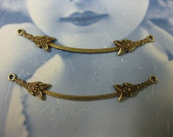 Brass Ox Plated Delicate Floral Necklace Connectors 780 BOX x2