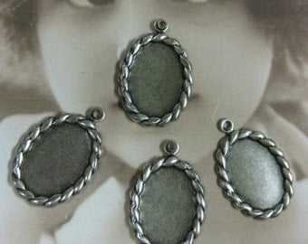 Silver Ox Plated 10x14mm Oval Rope Trim Bezel Frame Charms 976SOX x4