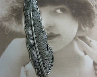 Sterling Silver Ox Plated Large Quill Feather Bent or Straight  925SOX x1