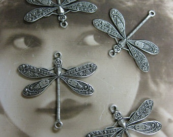 Sterling Silver Ox Plated Ornate Dragonfly Connectors 999SOX x4