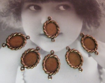 Copper Ox Braided Oval Cabochon Connector Bezel Settings 191COP x4