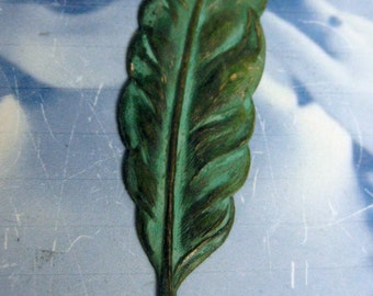 Verdigris Patina Quill Feather Bent or Straight 1019VER x1
