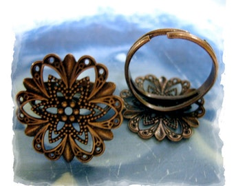 Copper Ox Plated Filigree Adjustable Rings 1031COP x2