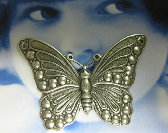 Sterling Silver Ox Plated Monarch Butterfly Stampings 331SOX x2