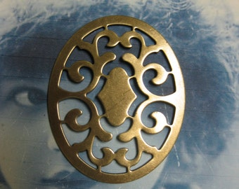 Brass Ox Plated Oval  Floral Filigree Stamping 1041BOX x2